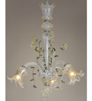 Murano Style Chandelier With Floral and Leaf Design