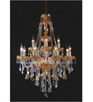 Murano Glass Crystal Drop 15 Light Hale Style Chandelier.