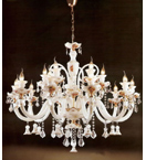 Murano Glass Crystal Drop 15 Light Venetian Style Chandelier.