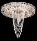 Flush Fitting Chandelier With Hanging Crystal Detail