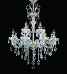 12 Light Chandelier With Hanging Crystal Beads