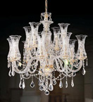 12 Light Crystal Chandelier With Glass Shades