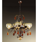 Ambra Design Chandelier With 3 Curves, Inlets & Hand-blown Glass