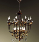 Luna Design Chandelier with Gold Leaf Details