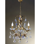 Settecento Design 3 Light Chandelier with Gold Leaf Frame