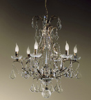 Settecento Design 6 Light Chandelier With Dark Leaf Frame