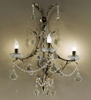 Dark Gold Settecento Design Wall Lamp with Crystal Decorations