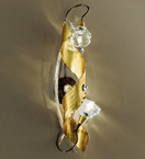 Spirale design forged metal tall wall lamp with blown glass details