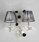 Paris Design Chrome Framed Wall Lamp with Black Shades