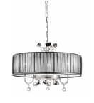 Paris Design Chrome Framed Drum Chandelier with Black Shade