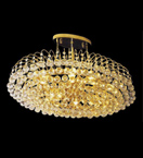 Surface mounted 10 light circular crystal chandelier